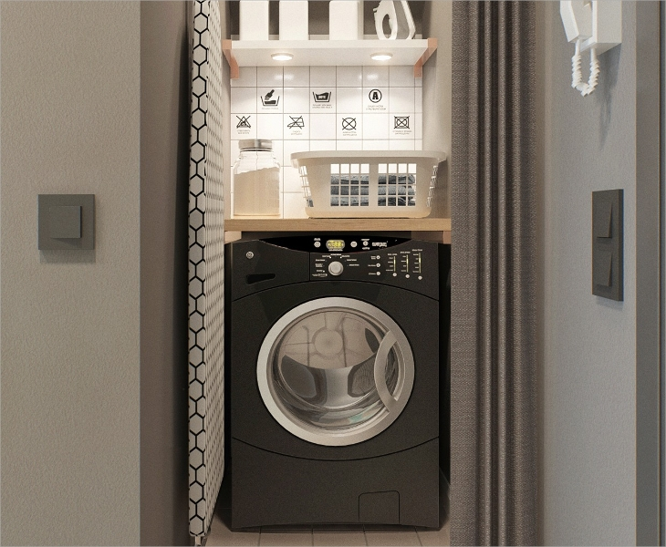 small apartment laundry room design