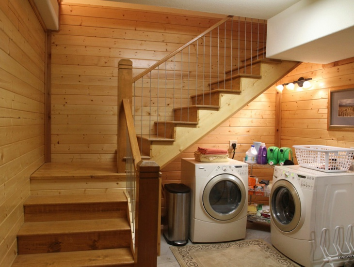 rustic apartment laundry room