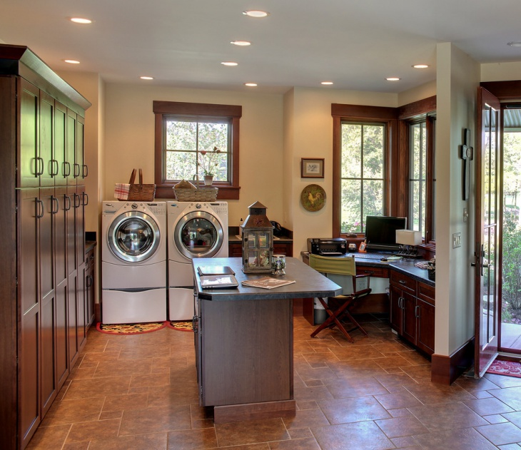 transitional office laundry room