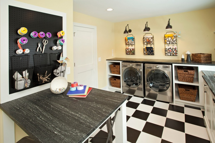 black and white laundry room design