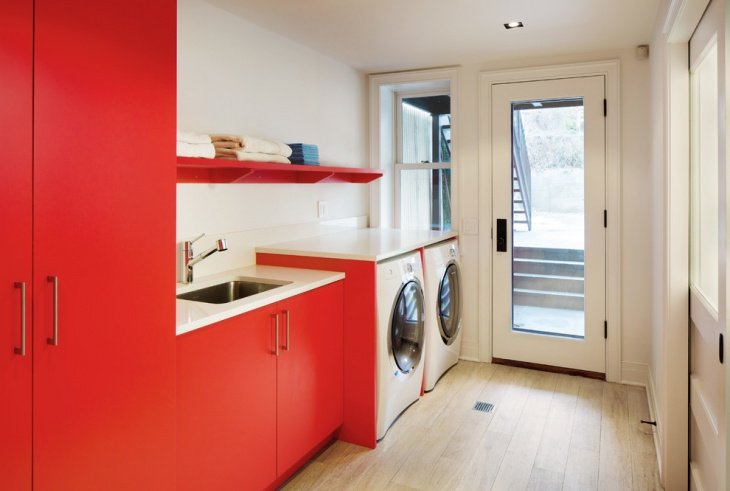 red and white laundry room design