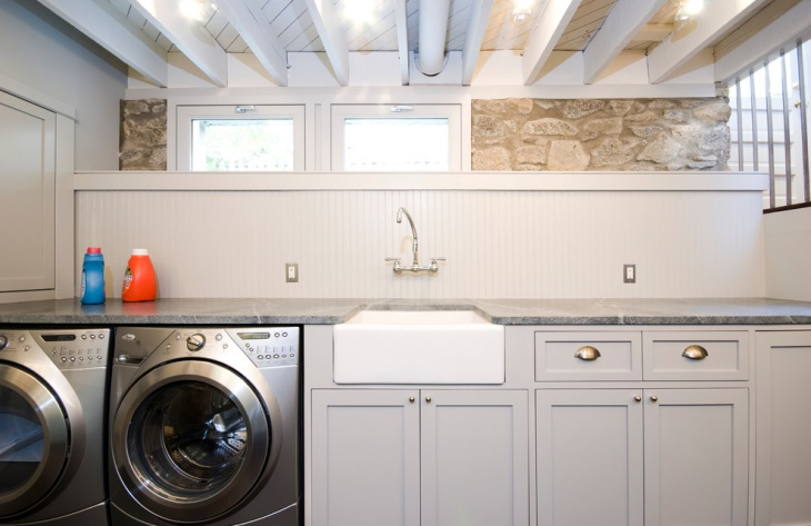 traditional laundry room with high ceiling