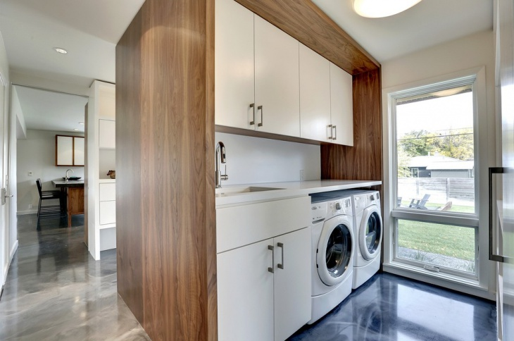 laundry room concrete floor design