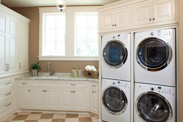 laundry room checkered floor design