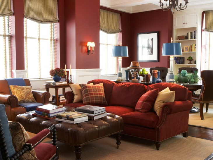 traditional red living room design