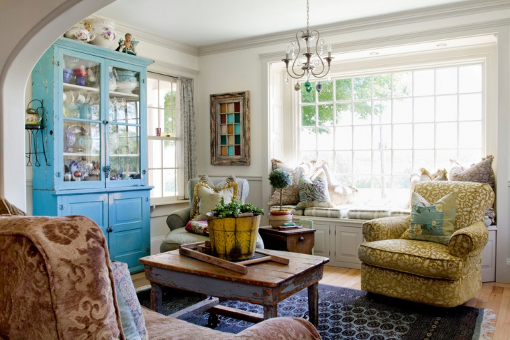 eclectic farmhouse living room design