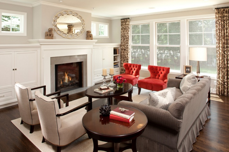 red and gray living room design
