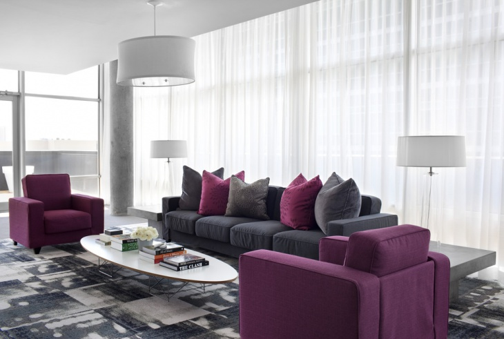 purple and gray living room design