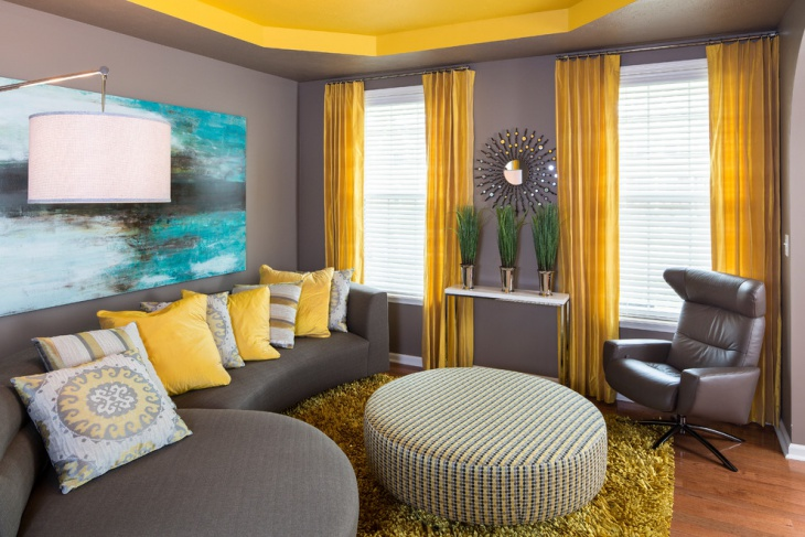 yellow and gray living room design