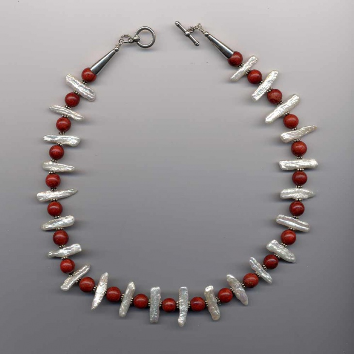 coral and pearl necklace design