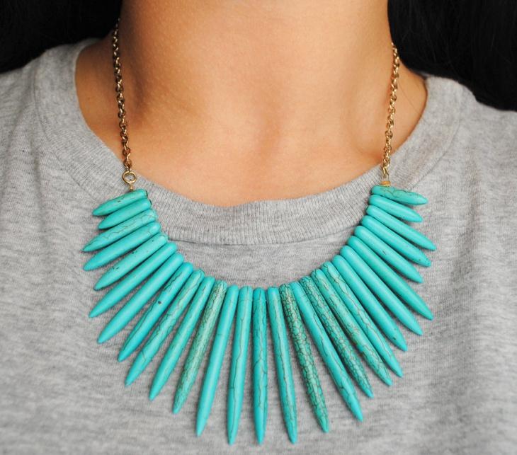 turquoise bib necklace design