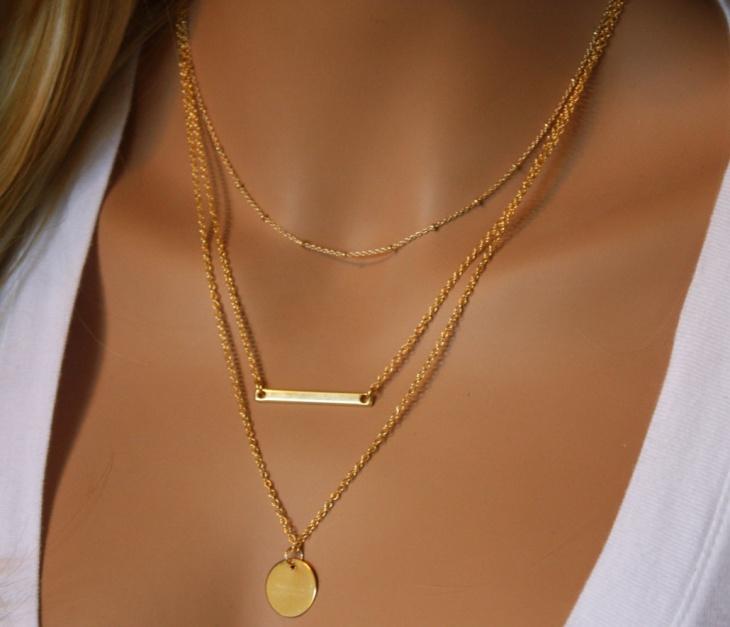 monogram gold necklace design