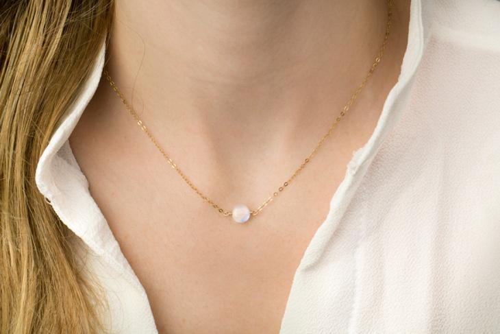 white stone necklace design
