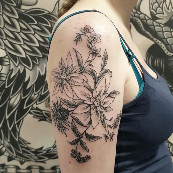 half sleeve floral tattoo design