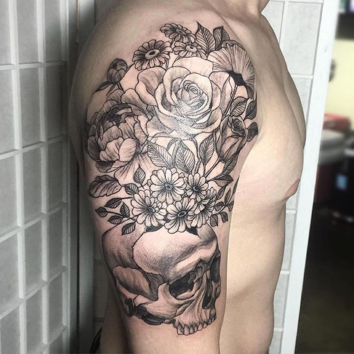 skull and flower tattoo design for men