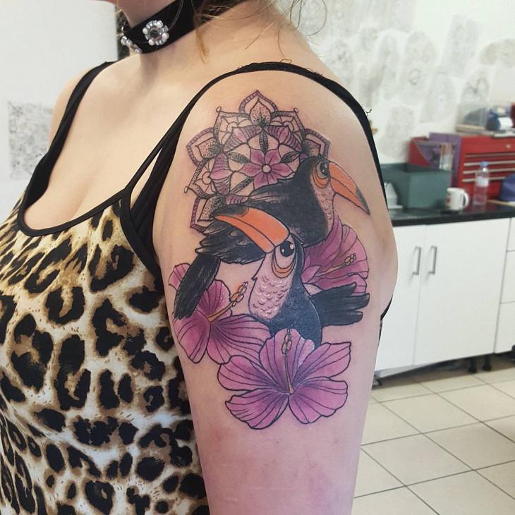 cool tropical flower tattoo design
