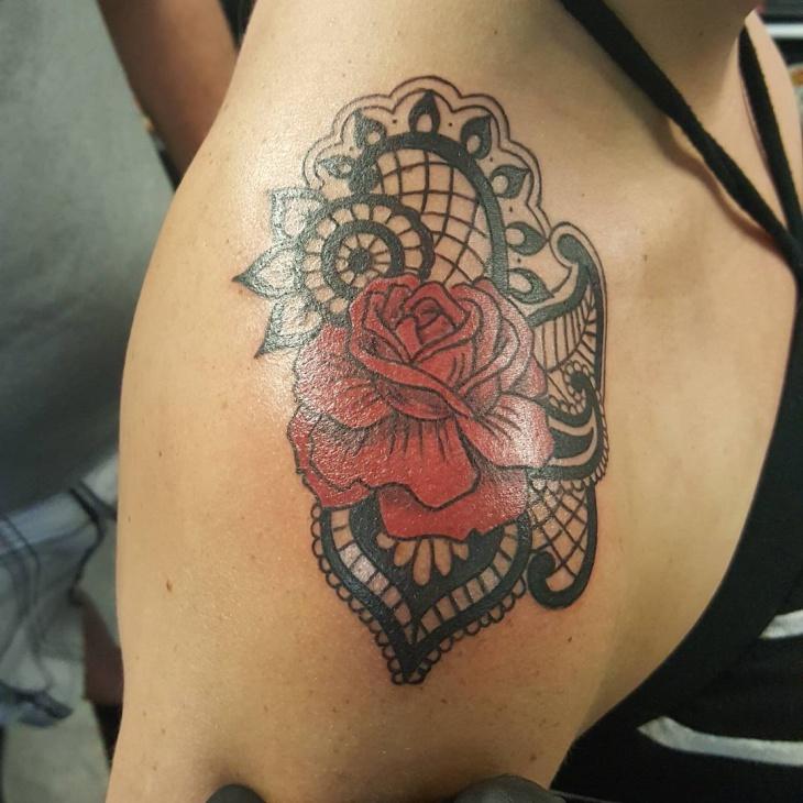 lace flower shoulder tattoo design