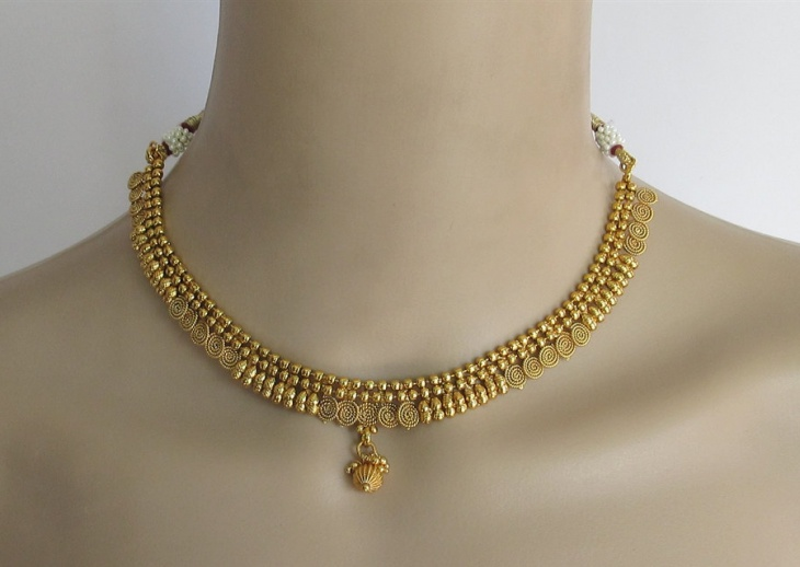 gold polki necklace design