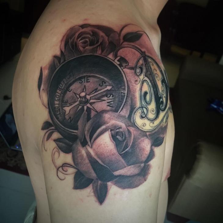 rose flower shoulder tattoo design