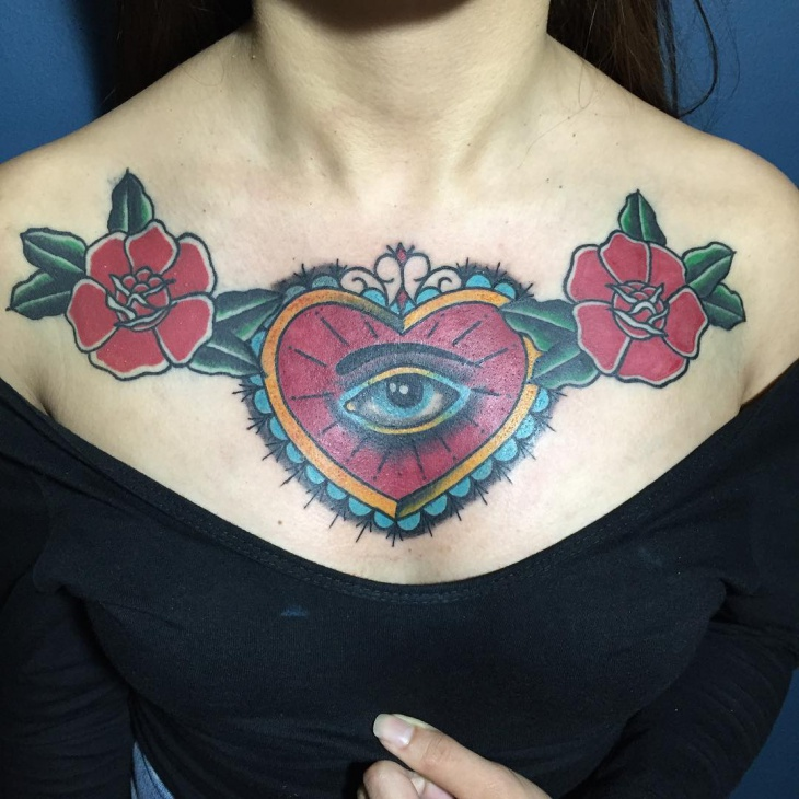 traditional heart flower tattoo design