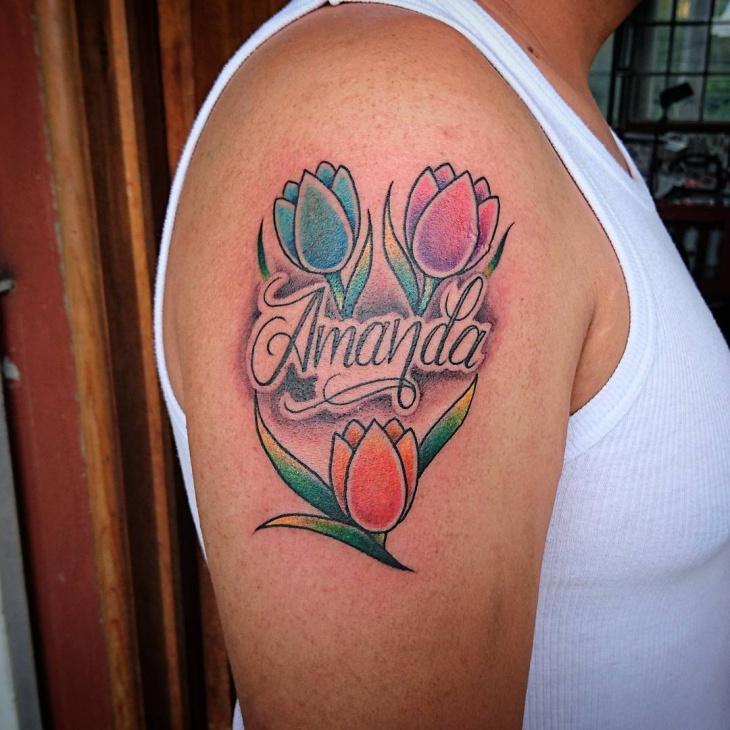 traditional tulip flower tattoo design