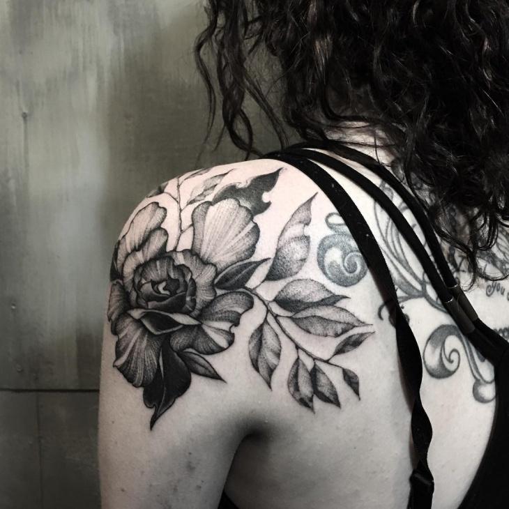 gothic flower tattoo design for women