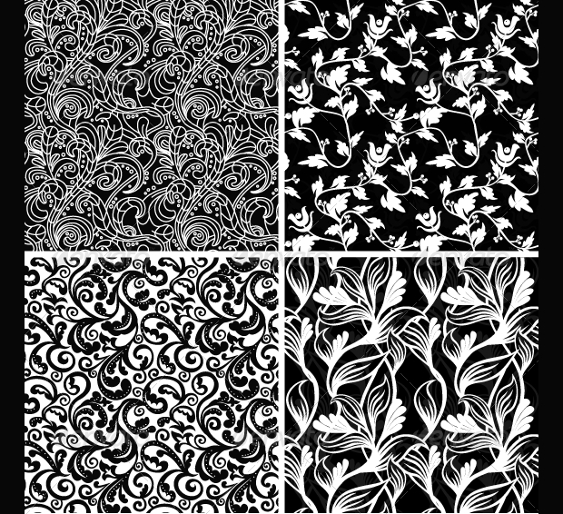 Black and White Floral Pattern Design