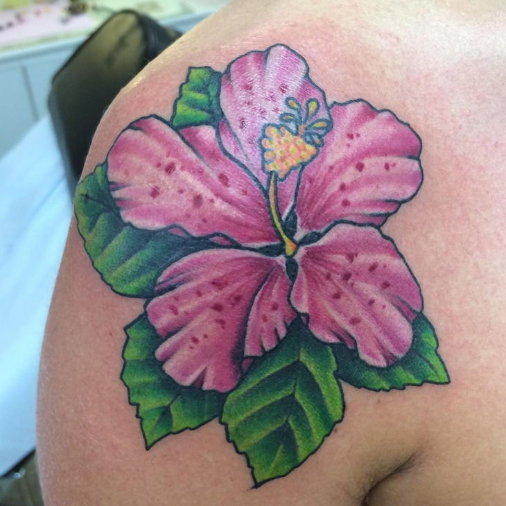 pink hibiscus flower tattoo design
