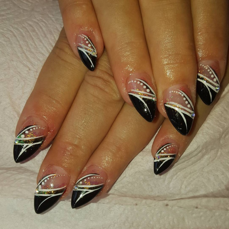 Black Pointy Tip Nail Design