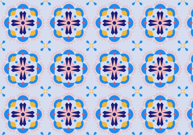Mosaic Flower Pattern Design