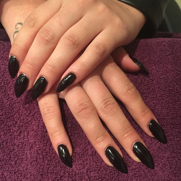 long and black gel nail design