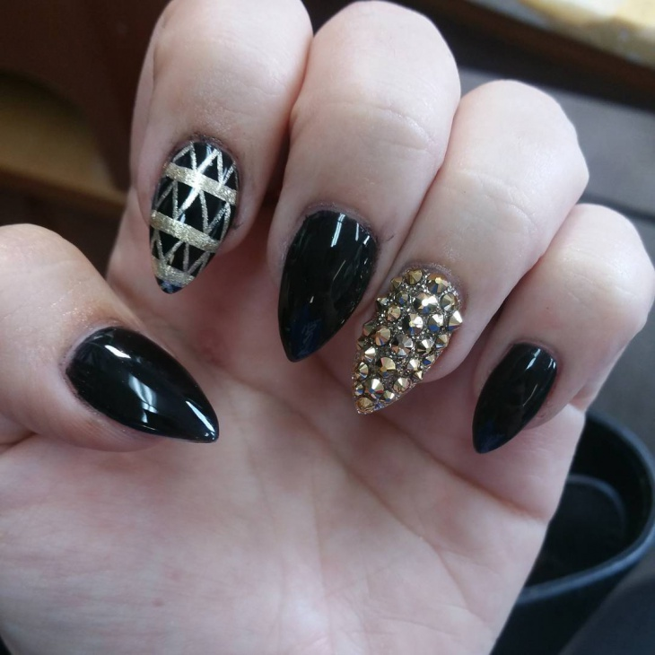 fancy black stiletto nail art