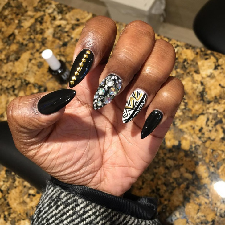 black stiletto rhinestone nail art