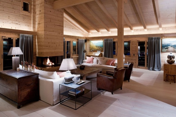 contemporary chalet interior idea