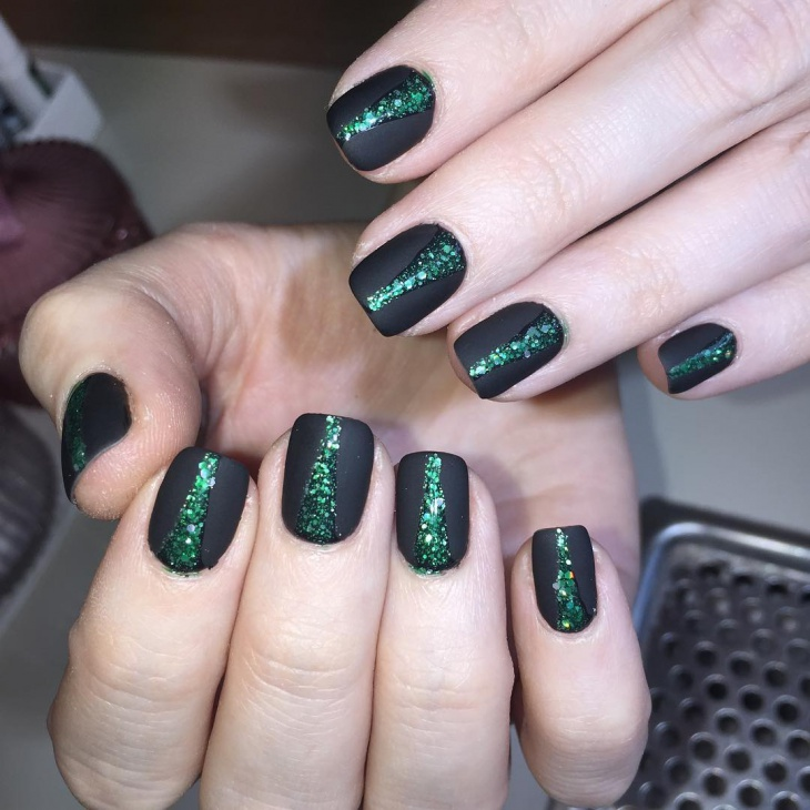 matte black and green nail art