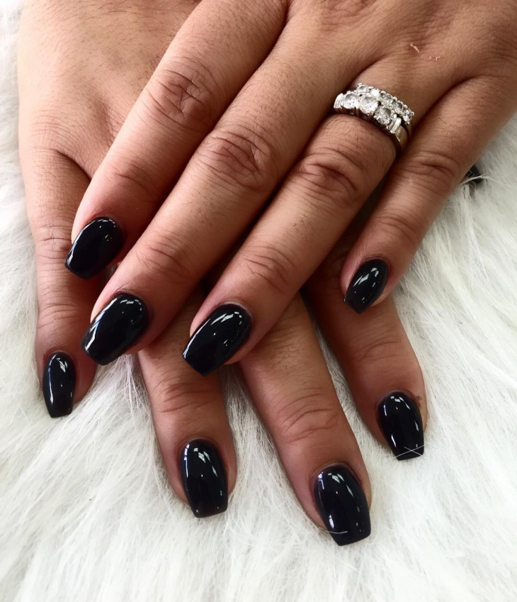 black acrylic gel nail design