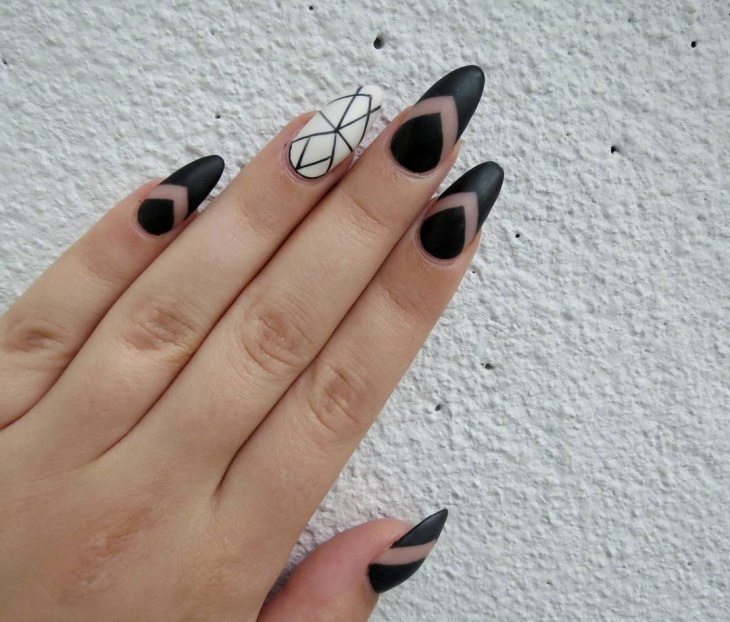 Black Acrylic Geometric Nails
