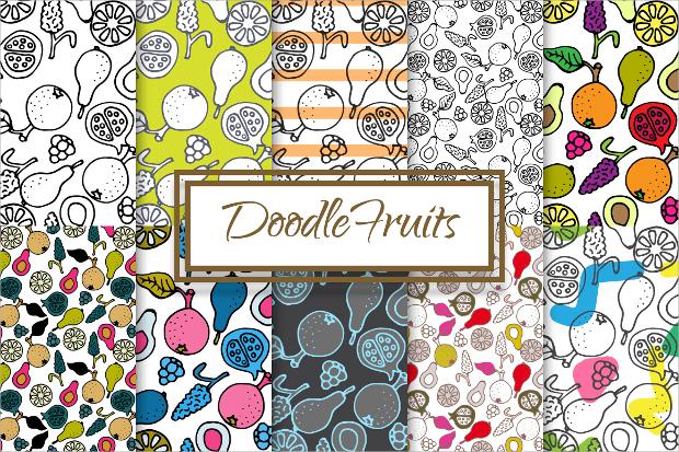 fruits doodle pattern
