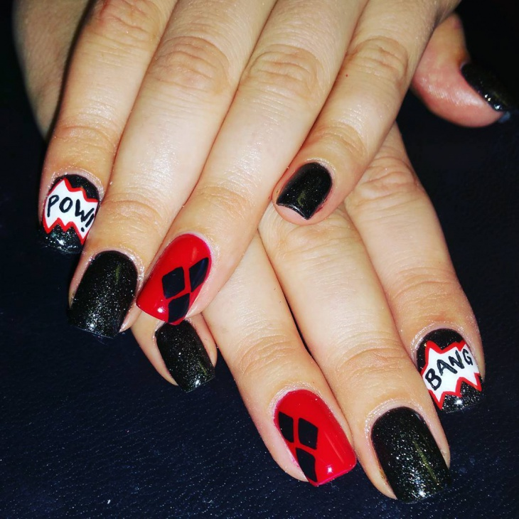black and red glitter nails