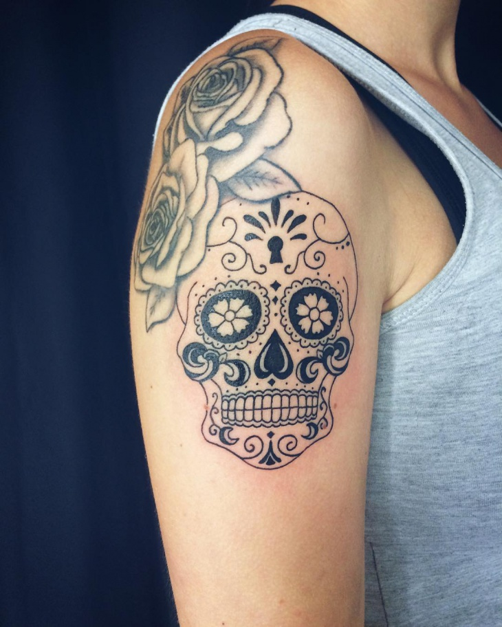 sugar skull tattoo design for women