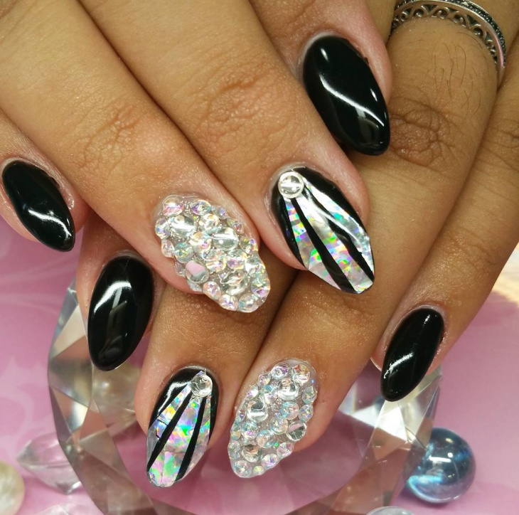 Dazzling Black Gel Nails With Rhinestones