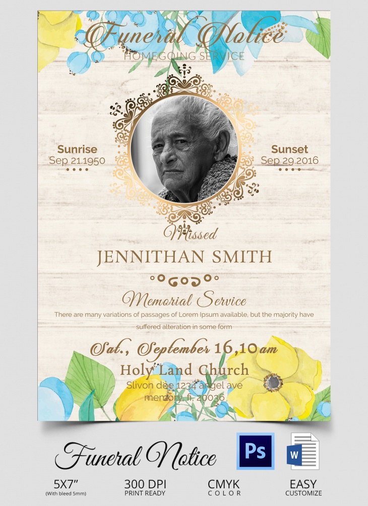 Funeral Notice Templates  Free Word Pdf Psd Documents Download