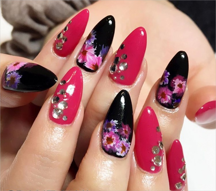 Summer Black and Pink Nails