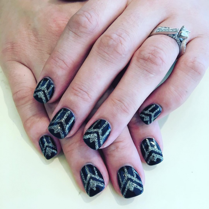 glitter summer black nail art