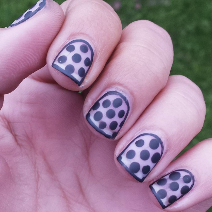 short black polka dot nails