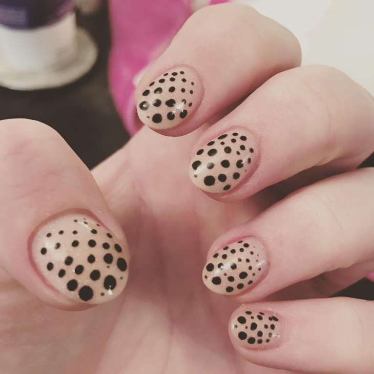 Round Black Polka Dot Nails
