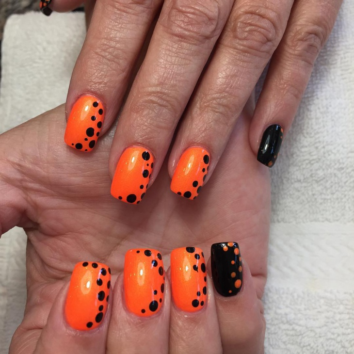Black and Orange Polka Dot Nails