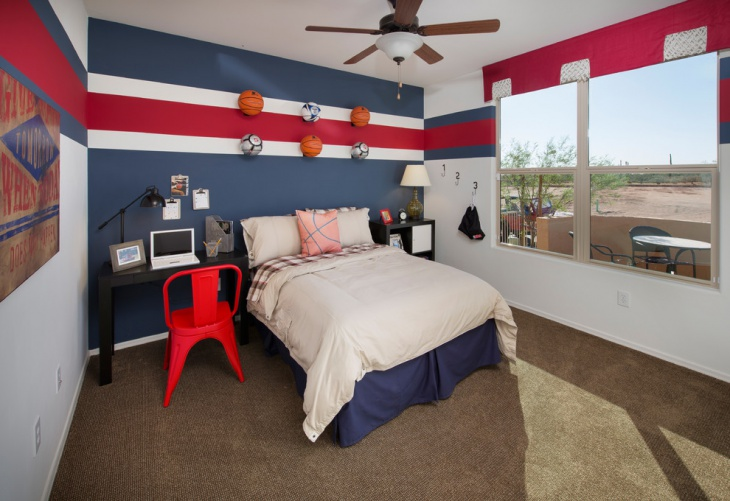 eclectic small kids bedroom with wall paint