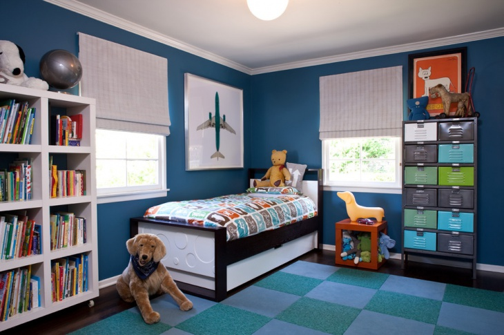 blue minimal kids bedroom design
