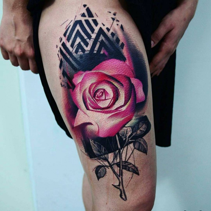 3d flower tattoo design for women